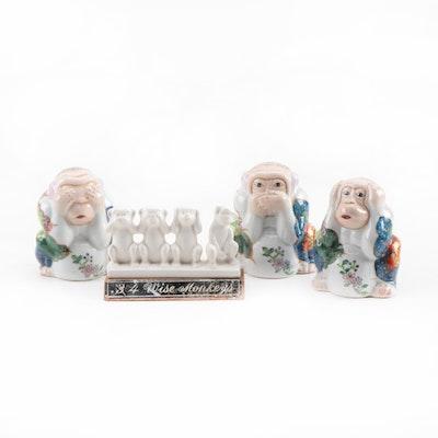 Chinese Porcelain Three Wise Monkeys Figurines and Four Wise Monkeys Figurine