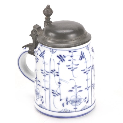"""German """"Indian Blue"""" Lithophane Porcelain and Pewter Stein, Early 20th Century"""
