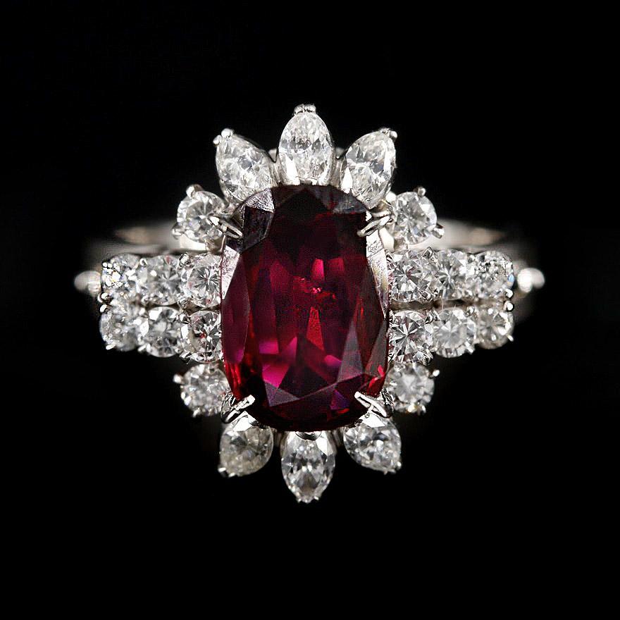 Platinum 1.84 CT Ruby and Diamond Ring