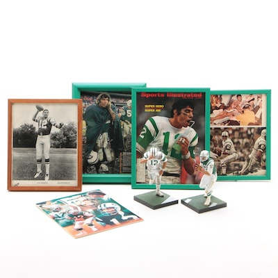 Joe Namath Framed Pictures with Two Action Figures