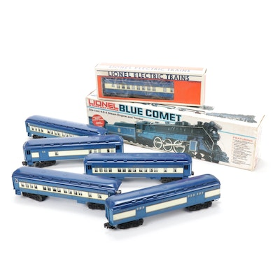 "Lionel O-Gauge ""Blue Comet"" Steam Locomotive and Passenger Cars"
