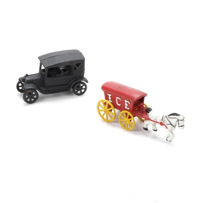Cast Iron Toy Car and Horse-Drawn Ice Merchant Wagon, Vintage
