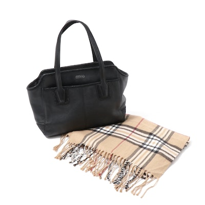 Coach Black Leather Shoulder Bag and Plaid Cashmere Fringed Scarf