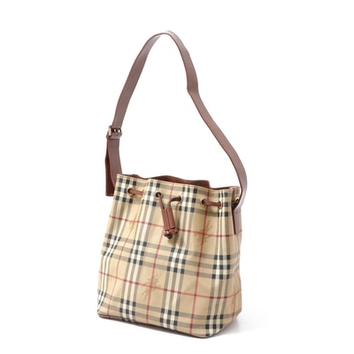 """Burberry """"Haymarket Check"""" Drawstring Bucket Bag in Coated Canvas and Leather"""