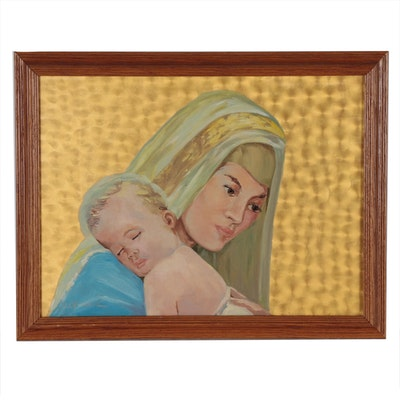 Ed Woerner Acrylic Painting of Madonna and Child