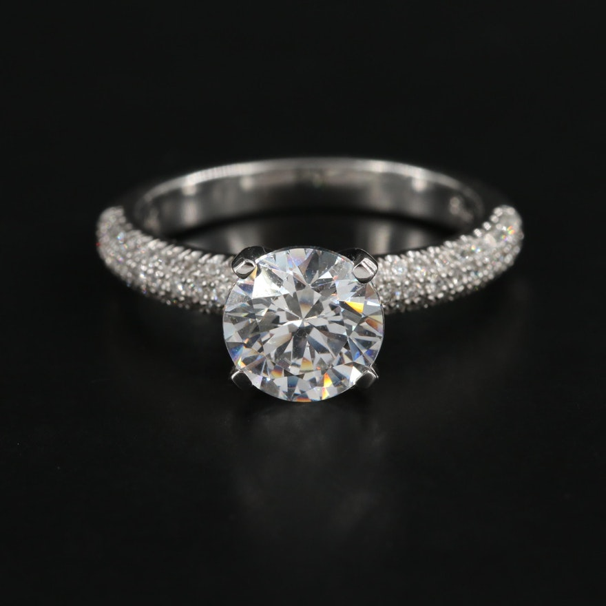 14K White Gold Semi-Mount Diamond Ring with Cubic Zirconia Center