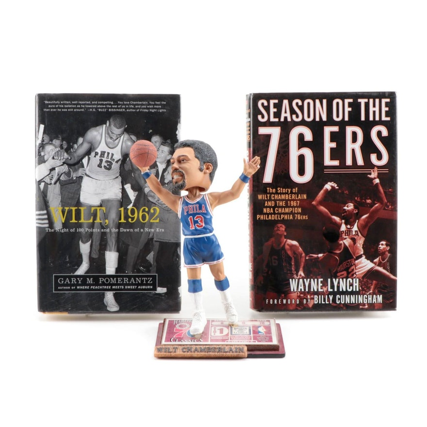 Wilt Chamberlain Philadelphia 76ers Limited Edition Bobblehead Doll and Books