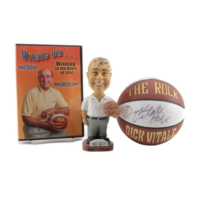 "Dick Vitale Signed ""The Rock Awesome Baby"" Bobblehead Doll with Mini Basketball"
