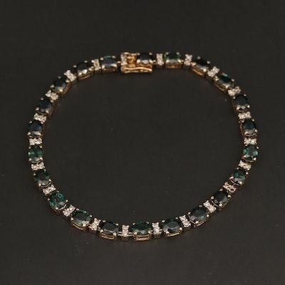 14K Yellow Gold Sapphire and Diamond Link Bracelet