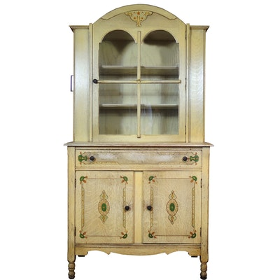 Jacobean Style Oak China Cabinet with Art Deco Stenciled Details, 1920s-1930s