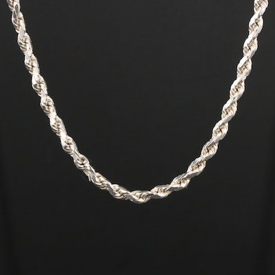 Sterling Silver Diamond Cut Rope Chain Link Necklace