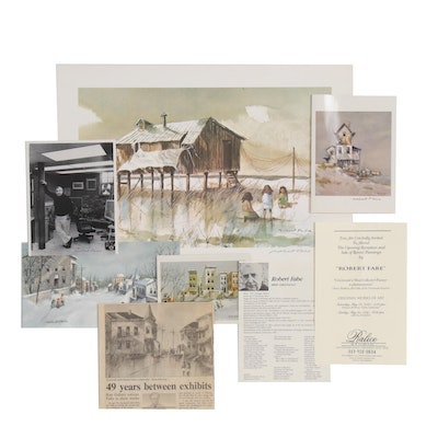 Robert Fabe Ephemera Including Limited Edition Offset Lithograph