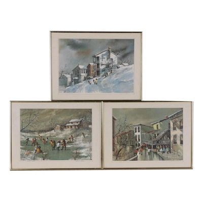 Robert Fabe Offset Lithographs of Genre Scenes