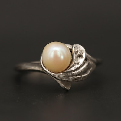 Vintage 10K White Gold Cultured Pearl Ring with Diamond Accent