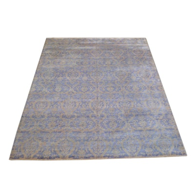 9' x 12' Hand-Knotted Indian Wool and Viscose Rug from The Rug Gallery