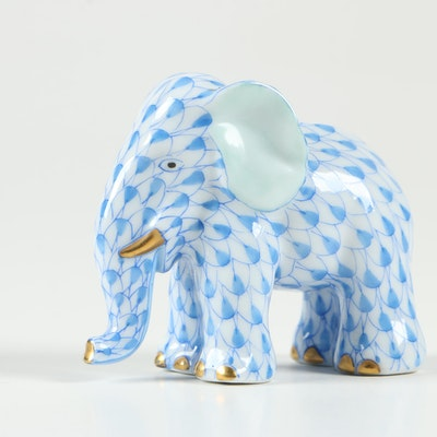 """Herend Blue Fishnet with Gold """"Miniature Elephant"""" Figurine"""