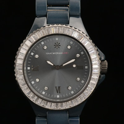 Isaac Mizrahi Live! Blue Ceramic Quartz Wristwatch with Crystal Bezel