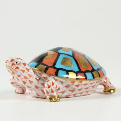 """Herend Rust Fishnet with Gold """"Turtle"""" Porcelain Figurine, August 1993"""