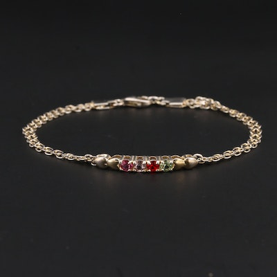 Sterling Silver Multi-Colored Faceted Glass Bracelet