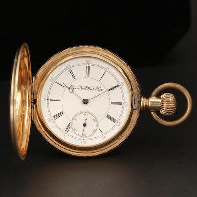 Antique Elgin 14K Yellow Gold Lever Set Hunter Case Pocket Watch