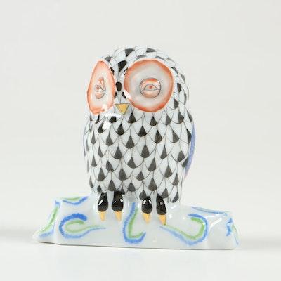 "Herend 175th Anniversary Black Fishnet ""Owl on Branch"" Porcelain Figurine, 2001"