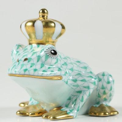 "Herend Green Fishnet with Gold ""Frog Prince"" Porcelain Figurine"
