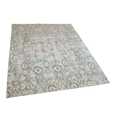 9' x 12' Hand-Knotted Indian Ikat Wool Area Rug from The Rug Gallery