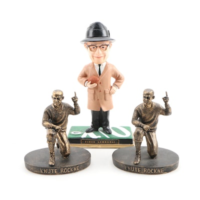 Knute Rockne and Vince Lombardi Notre Dame Football Statues and Bobblehead Doll