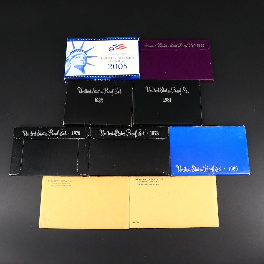 Nine U.S Mint Proof Sets Including 1961, 1979, and 2005