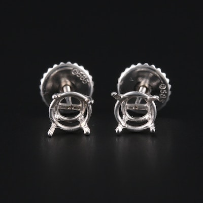 14K White Gold Open-Mount Stud Earrings