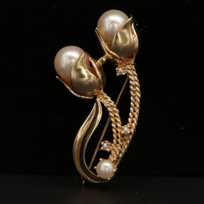 14K Yellow Gold Pearl Floral Brooch