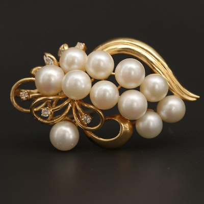 18K Yellow Gold Cultured Pearl and Diamond Enhancer Converter Brooch