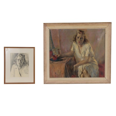 Portrait Oil Painting and Graphite Drawing of Young Woman, Mid 20th Century