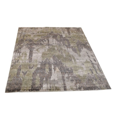 8' x 10' Hand-Knotted Indian Tibetan Wool and Viscose Rug from The Rug Gallery