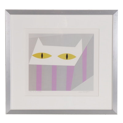 "Edie Harper Offset Lithograph ""Cat in a Hatbox"""
