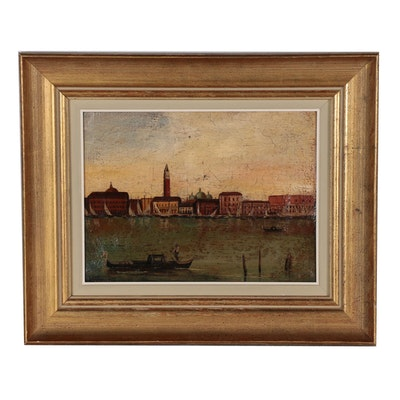 Oil Painting of Venetian Canal, Mid 20th Century