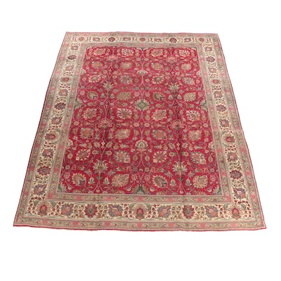 9'7 x 12'8 Hand-Knotted Persian Isfahan Room Sized Wool Rug