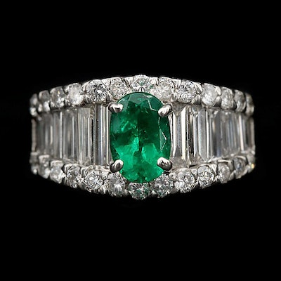 Platinum 1.05 CT Emerald and 2.67 CTW Diamond Ring