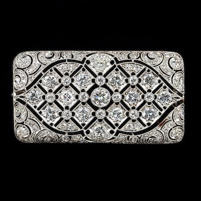 Circa 1930s Platinum 5.00 CTW Diamond Converter Brooch