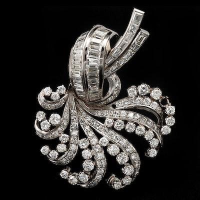 Circa 1950 Platinum 9.66 CTW Diamond Spray Brooch