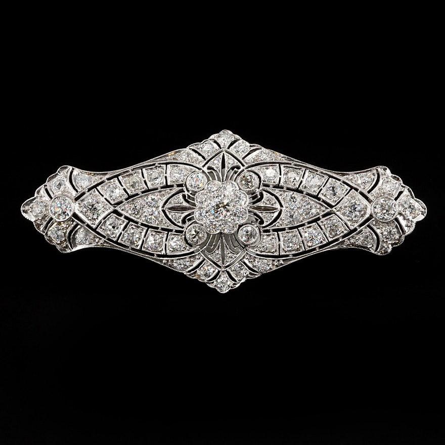 Edwardian Platinum 4.35 CTW Diamond Converter Brooch