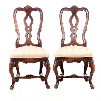 Century Furniture Co., Pair of Rococo Style Carved Walnut Side Chairs