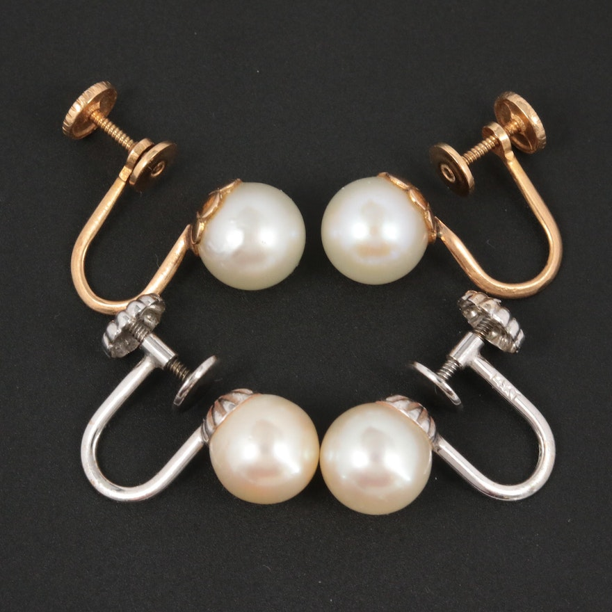 14K White and Yellow Gold Cultured Pearl Earrings