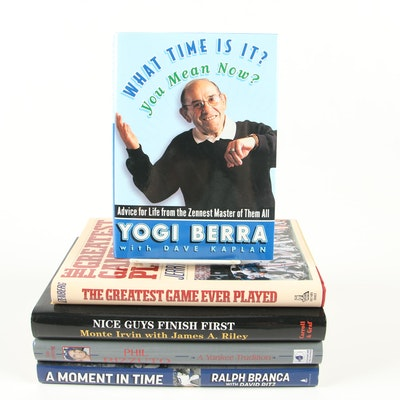 """First Edition Baseball Books featuring """"What Time Is It? You Mean Now?"""" by Berra"""