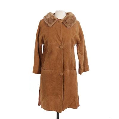 Tan Suede Jacket with Mink Fur Collar, Vintage