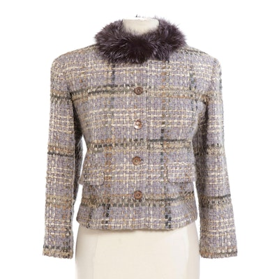 Anne Dee Goldin New York Bouclé Jacket with Dyed Fox Fur Collar