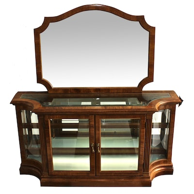 Pulaski Wood and Glass Display Case Cabinet With Mirror and Display Light