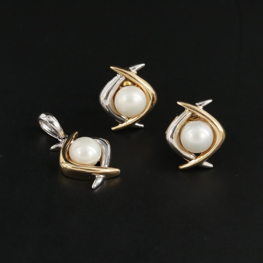 14k Yellow and White Gold, Cultured Pearl Pendant and Matching Earrings
