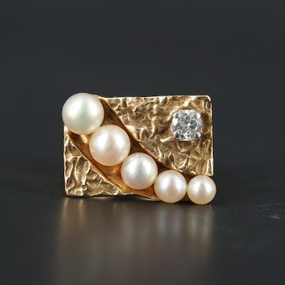 14K Yellow Gold Diamond and Pearl Ring