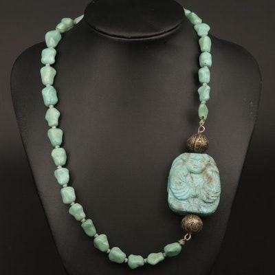 Howlite Carved Pendant With Beaded Endless Necklace